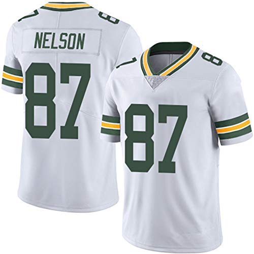 87# NELSON Green Rugby Jersey Bay Packers Football Jersey, Rugby Fans Tshirts Print Top Short Sleeve,L