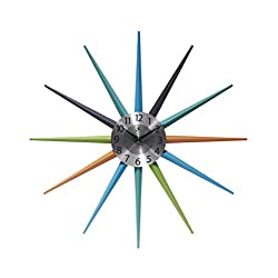 Infinity Instruments Stellar Starburst Vintage 20 inch Retro Midcentury Clock, Green, Blue, Aqua, Orange