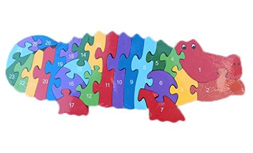 Bigood Puzzle Jouet Enfant Bébé en Bois Alphabet Chiffre Cognition Eveil Crocodile