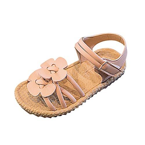 Fenverk Kinder Sandalen Baby MäDchen Bowknot Perle Kristall RöMischen Prinzessin Schuhe Sommer Blumen Kleinkind Outdoor Lauflernschuhe(Rosa,21)