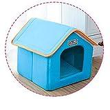 Pet House Klappbett Mit Matte Weiche Winter Leopard Dog Puppy Sofakissen House Kennel Blau 49 cm x...