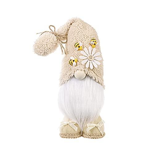 Qagazine Gnomo lindo día de la abeja con abejas y margaritas muñeca de felpa primavera gnomos hechos a mano para decoración del hogar de vacaciones 37 cm