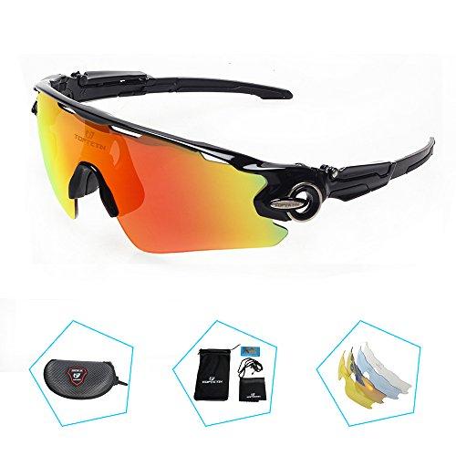 TOPTETN Gafas de sol deportivas Lente polarizada Gafas polarizadas Lente intercambiable 5 uv 400 UV corte bicicleta Ciclismo Golf Gafas de pescar Béisbol escalada gafas gafas unisex doble uso (black)