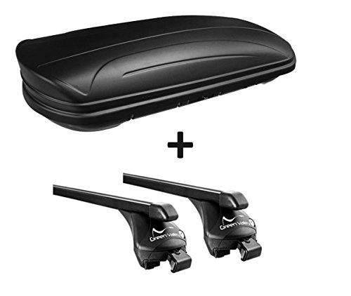 Dachbox VDPMAA320 320Ltr abschließbar schwarz matt + Relingträger Quick kompatibel mit Skoda Kodiaq (SUV 5 Türer) ab 2017 offene Reling