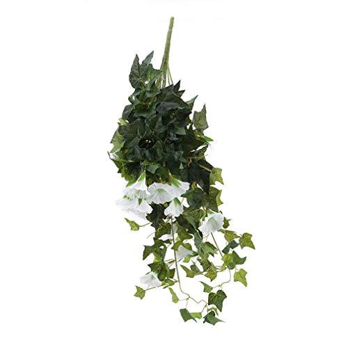 Kaned Simulation Winde Trompetenblume Kunstblume Ranke Kunststoff Blumendekoration Wandbehang Kletterpflanze,Weiß