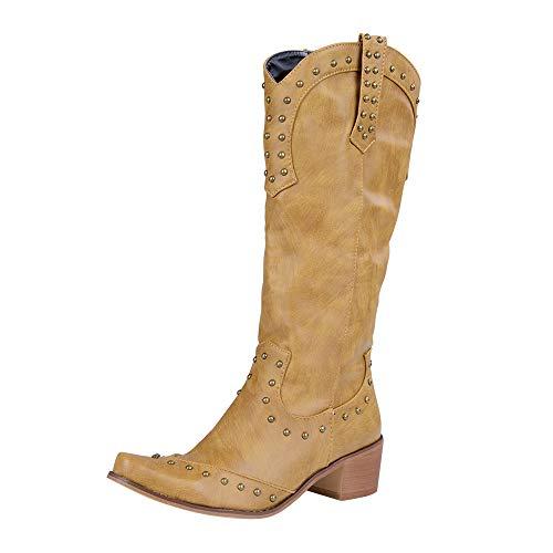 Manooby Cowboy Western Scarpe da Donna Stivali Stivaletti Ginocchio Alto EU 34-43