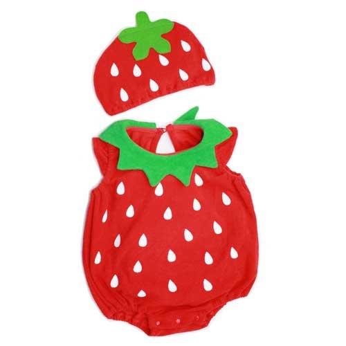 【帽子付 イチゴ ロンパース 着ぐるみ】80cm pinku~赤