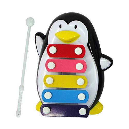 ZXIAQI Pinguin Xylophon für Kinder, 5 Töne Plastik Spielzeug Musikinstrument, Schlaginstrument mit 1 Schlägeln Perfekt für Kleine Musiker,Schwarz