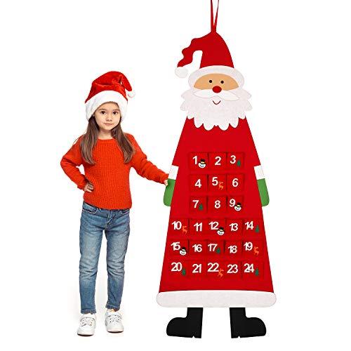 Outus Calendario di Natale Avvento in Feltro 3D Santa Calendario di Avvento con 24 Giorni Ornamenti Natale Appesi in Tasche Conto a Rovescia per Casa Ufficio Decorazione di Porta e Parete