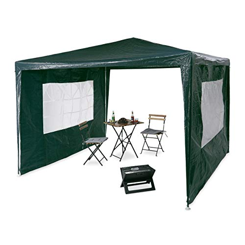 Relaxdays Gazebo 3x3 m, 2 Side Walls, Metal Frame, PE Cover, Window, Enclosed Festival Party Tent Event Shelter, Green, 300x300x250 cm