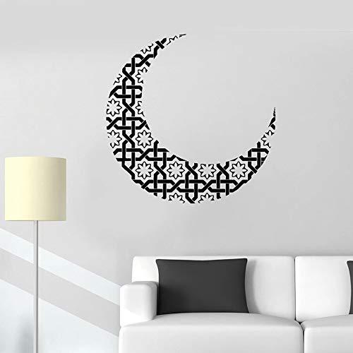 Luna calcomanías de pared decoración de media luna idioma decoración del hogar dormitorio sala de estar vinilo ventana pegatina de vidrio arte flor mural