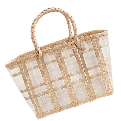 HEMOTON Vävd handkorg korg korg grönsaker shoppingkorg serveringskorg picknickkorg sommarstrand stråväska