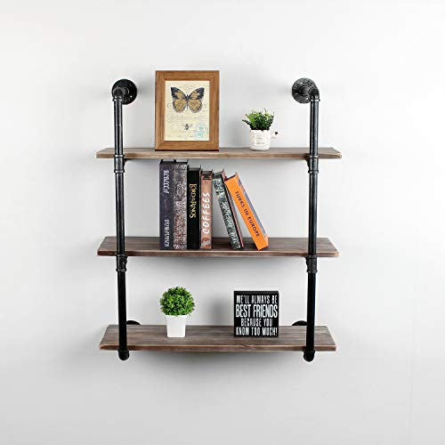 Industrial Pipe Shelving Wall Mounted,36in Rustic Metal Floating Shelves,Steampunk Real Wood Book Shelves,Wall Shelf Unit Bookshelf Hanging Wall Shelves,Farmhouse Kitchen Bar Shelving(4 Tier)