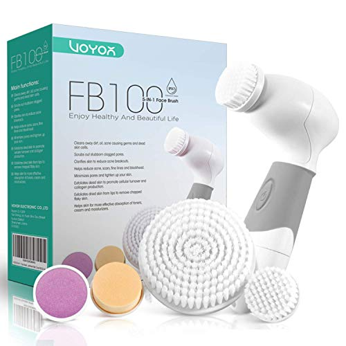 VOYOR 5 En 1 Cepillo Limpiador Facial Electrico Limpieza Facial Minimizador de Poros Removedor de Piel Muerta Cepillo Removedor de Maquillaje Cepillo Limpiador Corporal FB100
