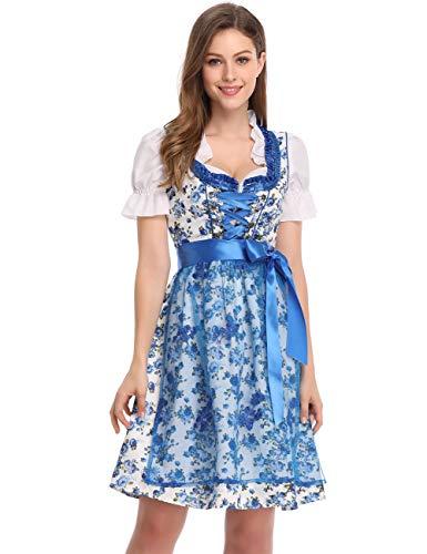 Clearlove Dirndl 3 tlg.Damen Midi Trachtenkleid für Oktoberfest- Spitzen Kleid, Bluse & Schürze, Blau Blumen, 38