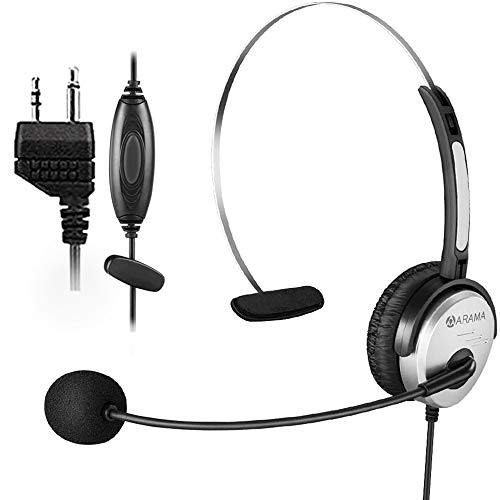 Arama Two Way Radio Headset with Mic Noise Cancelling Ultra Comfort Walkie Talkies Earpiece for Midland Marine GMRS FRS Alan Dual