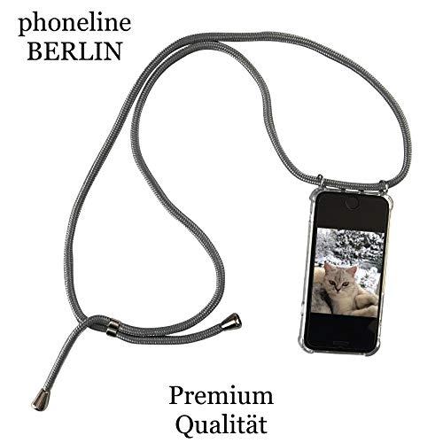 phoneline Berlin iPhone 6 Plus und 6S Plus Case in Light Grey Handyhülle mit Band Kette Necklace Kordel Umhängen grau Nur für das iPhone 6 Plus und 6s Plus passend