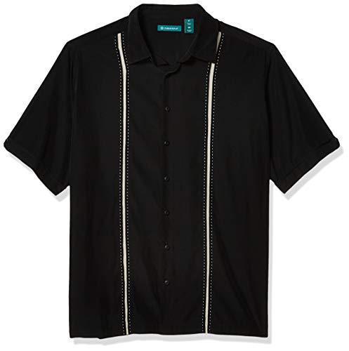 Cubavera Mens Contrast Insert Stitching Short Sleeve Woven Shirt,Black,X-Large
