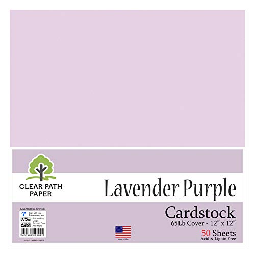 Lavender Purple Cardstock - 12 x 12 inch - 65Lb Cover - 50 Sheets - Clear Path Paper