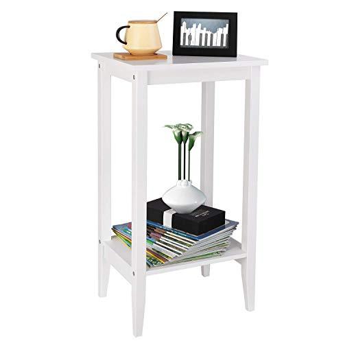 Homfa Tavolino Quadrato Moderno per Soggiorno, Tavolino in Legno da Divano caffè tè Salotto Bianco (37 × 27 × 73.5 cm) (1)