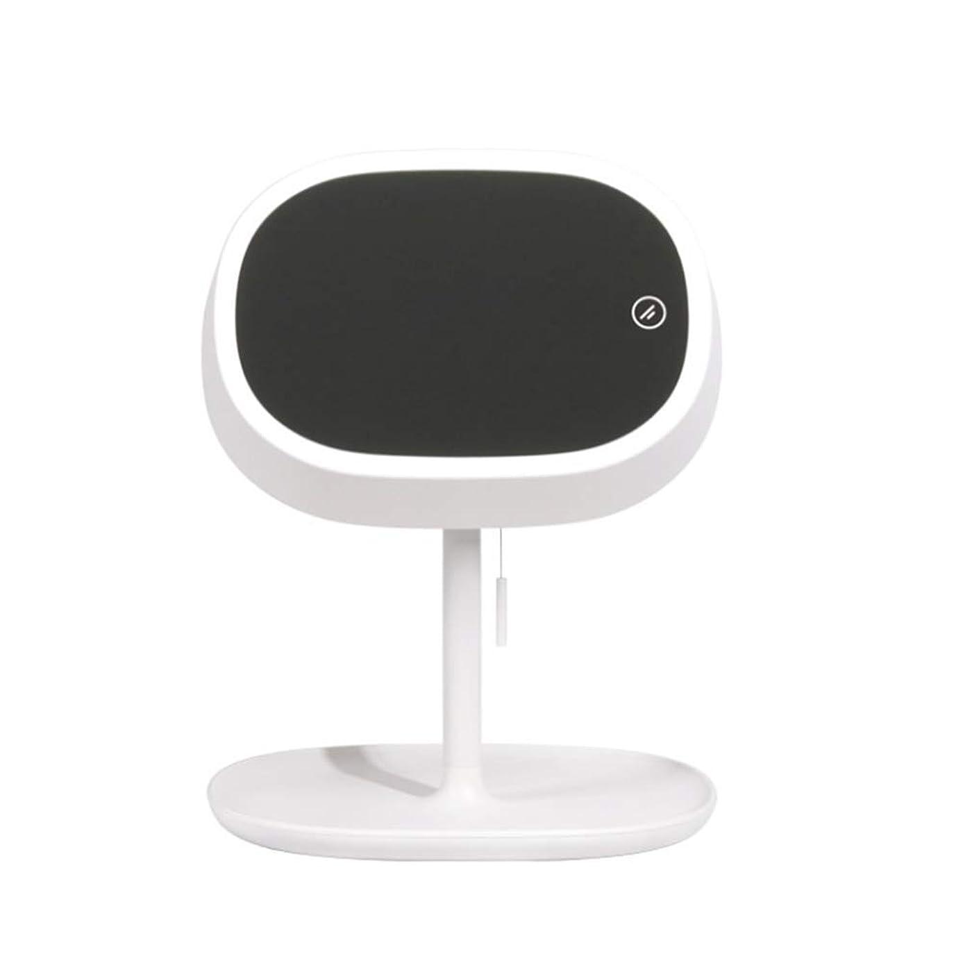 コールコール正当なデスクトップテーブルランプストレージ美容Usbの化粧鏡180°フリップを充電ライトフィルライトデスクトップLED付メイクアップミラー,白