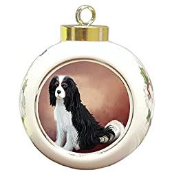 Cavalier King Charles Spaniel Dogラウンドボールクリスマスオーナメント[Doggie of the Day/Amazon]