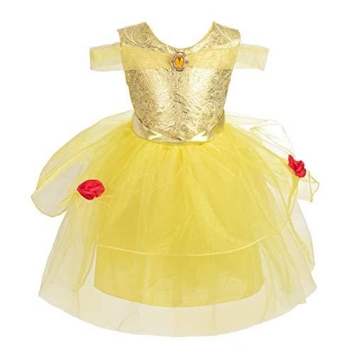 Lito Angels Deguisement Robe Princesse Belle Enfant Fille, Anniversaire Fete Carnaval Costume, Taille 2 ans, Jaune