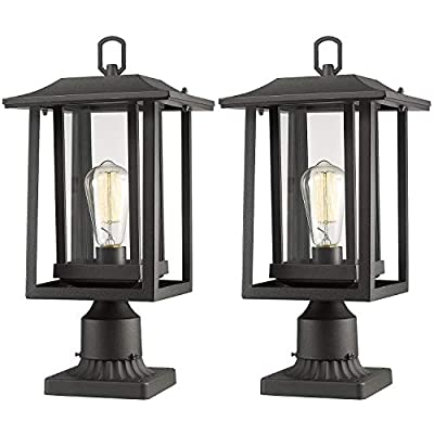 """Beionxii Outdoor Post Light Fixture, 2-Pack Large Exterior Post Lantern with 3-Inch Pier Mount Base, Sand Textured Black with Clear Glass(8.9""""W x 15""""H) - A197P-2PK"""
