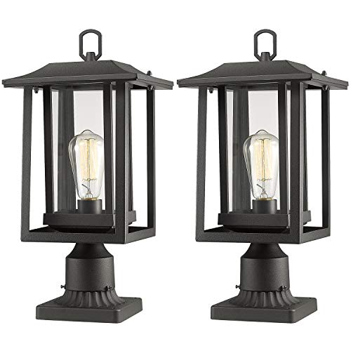 Beionxii Outdoor Post Light Fixture, Set of 2 Large Exterior Post Lantern with 3-Inch Pier Mount Base, Sand Textured Black with Clear Glass(9