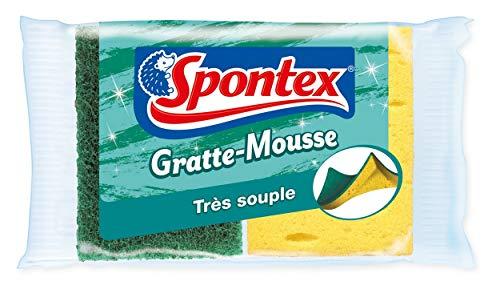 SPONTEX - Gratte Mousse - 6 éponges grattantes vertes en mousse -3 lots de 2 éponges