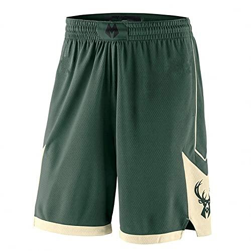 AGLT 2021 NBA Bucks Baloncesto Cortos Transpirable Sudor Deporte Correr Cortos Deportes al aire libre Fitness Pantalones Cortos Sueltos,, B2, M