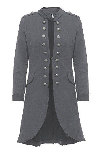 Madonna Damen Blazer Damenjacke Admiral Jacke Military Army Style Lang S -XXL XXXL (Dark Grey, XXXL /46)