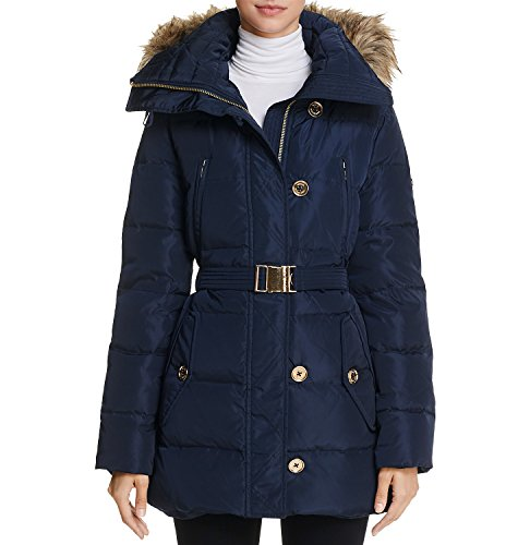 Lining: Polyester; filling: 55% down, 45% feather Zip front closure; zip out faux fur hood; detach belt; hits mid-tigh