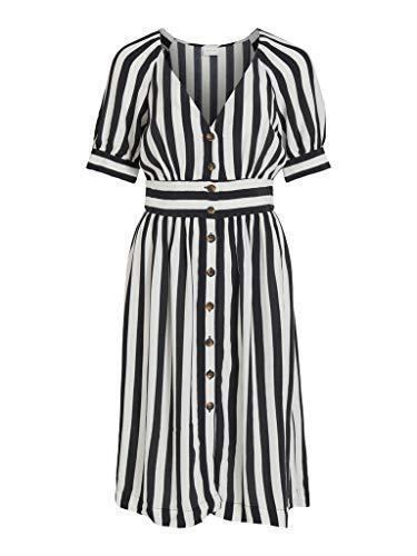 Vila Clothes Damen VISUSASSY S/S Dress/SU Kleid, Stripes:Black White Alyssum, 38