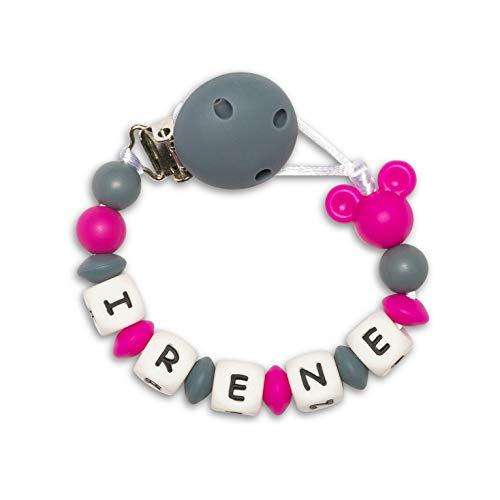 Kembilove Chupetero personalizado para bebe con nombre - Chupetero Mickey con bolas de silicona antibacteria - Cadena con pinza de acero inoxidable Sin BPA Color Fucsia