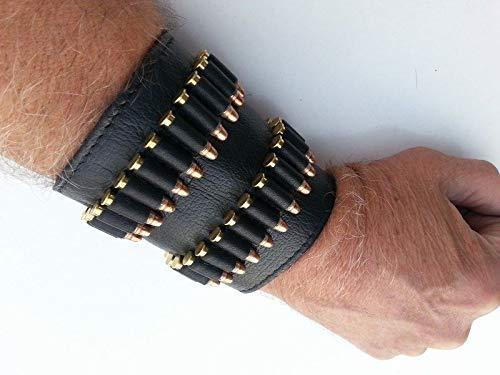 vsdfvsdfv .22 .17/.38.357/.45 Cartridge Belt Slide Pistol Ammunition Carrier Leather (Black 38/357 Special)