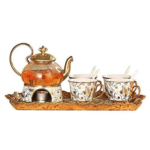 XiYou Juego de té Japonés Europeo Phnom Penh Patrón de Flor Dorada Flor de Vidrio Flor de Fruta Tetera Tetera Cerámica Bandeja de Porcelana de Hueso Fiesta del té de la Tarde, Regalo