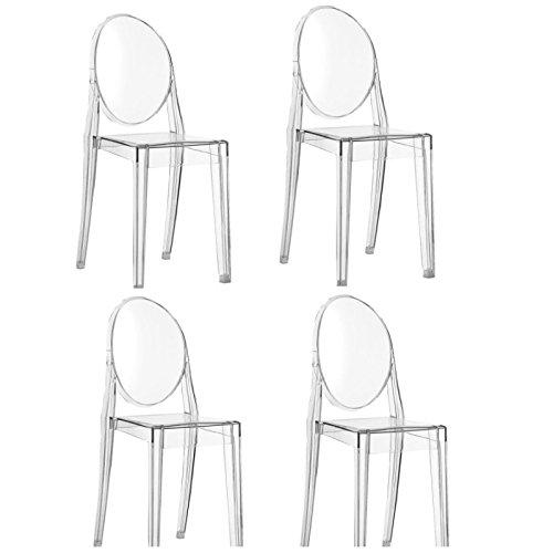 Kartell 4 x Victoria Ghost transparent Stapelstuhl von Philippe Starck zum Set-Preis 4856 B4