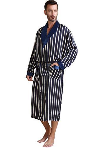 Herren Seide Bademantel Schlafanzug Blau X-Large