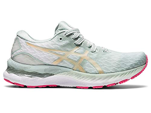 ASICS Women's Gel-Nimbus 23 Running Shoes, 5.5M, Lichen Rock/Champagne