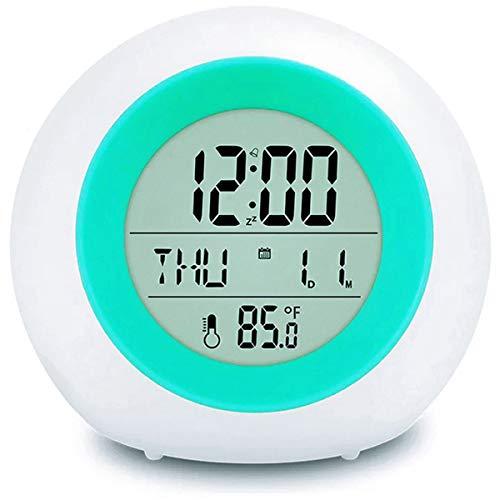 LED Kinderwecker [2020 Version], Outwit 7 Farben ändern Lichtwecker für Kinder, 8 Klingeltöne,12/24 Stunden,One-Tap-Control,Innentemperaturanzeige für Kinder Mädchen Jungen