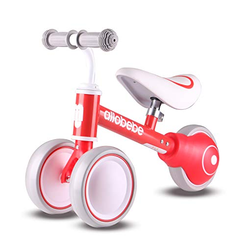 allobebe Baby Balance Bike-Gifts and Toys for 1 Year Old Girls Boys No Pedal Bicycle with Adjustable Seat 3 Wheels Toddler Bike for 12-36 Months Baby