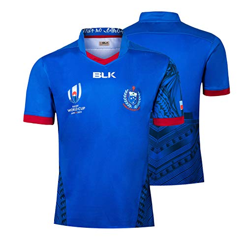 2019 WM-Samoa Rugby Jersey, Samoa Home Court Short Sleeve Rugby T-Shirt-Polo-Shirts, Männer Schulung Wettbewerb Fußball Jersey, 100% Polyester Atmungsaktiv XXXXXL