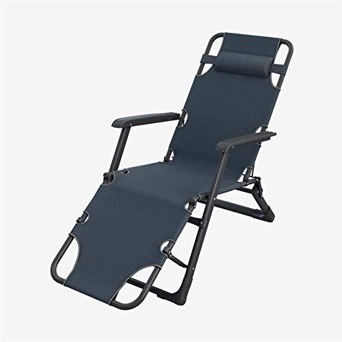 HFJKD Tumbonas y sillones reclinables de jardín Muebles de Exterior Cama Plegable con cojín Refuerzo de Tubo Cuadrado Tumbona Silla Ajustable para Playa Piscina Patio Camping