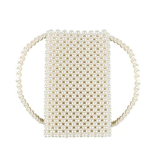 AMUSTER Damen Clutch Perlen Weiß Abendtasche für Party Hochzeit Frau Geschenk Tasche Elegant Handtasche klein Brauttasche