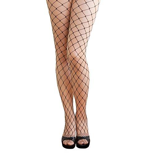 Oblique-Unique® Sexy Strumpfhose -halterlos- Overknee Strümpfe - Party Kostüm Fasching Karneval (Netz grob schwarz)