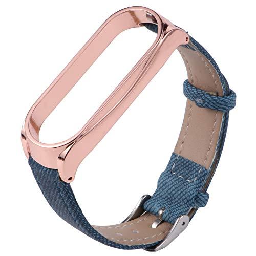 UKCOCO Kompatibel für Xiaomi Mi Bänder 5 Uhrenarmbänder Lederuhr Ersatz Armband mit Etui für Männer Frauen