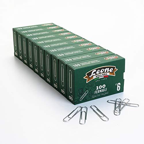 1.000 Fermagli Zincati Leone Dell'Era N. 6 (58 mm), Stecca da 10 scatole da 100 pezzi