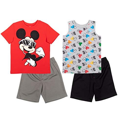 Disney Mickey Mouse Toddler Boys 4 Piece Tank Top T-Shirt Athletic Shorts Set 2T