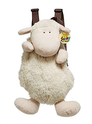Rucksack Schaf aus Plüsch, 33 cm - Kinderrucksack - Lamm - Plüschtier- Kuscheltier (Cremeweiss)